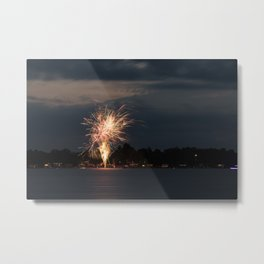 Fireworks Over Lake 31 Metal Print