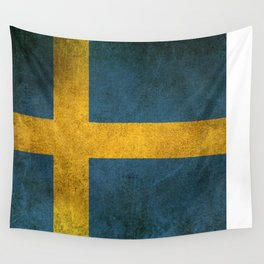 Old and Worn Distressed Vintage Flag of Sweden Wall Tapestry