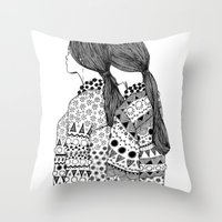 twins Throw Pillows featuring Twins by La Thai