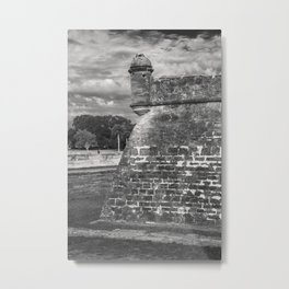 Castillo de San Marcos - black and white Metal Print