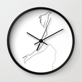 """""""Fashion Line Collection"""" - Minimal One Line Woman Figure Running Print Wall Clock"""
