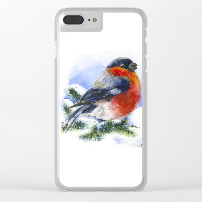 Bullfinches in winter time. Christmas Watercolor Art Clear iPhone Case