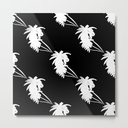 Palm Tree Pattern Black and White Metal Print