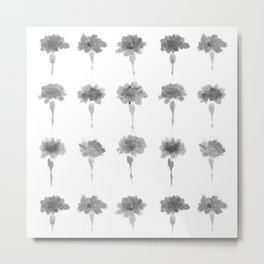 Monochrome Flowers - minimalistic pattern of carnations in ink Metal Print