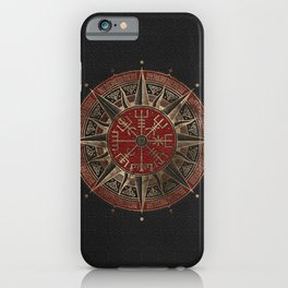 Vegvisir - Viking Compass - Black and red Leather and gold iPhone Case