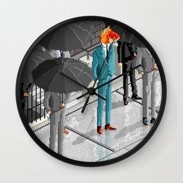 Fishing in the Rain Wall Clock