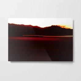 Night Lights Car and Fire Mountain Metal Print