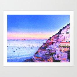 Twilight Over Positano, Italy Art Print