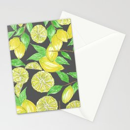 Watercolor Lemon Twig Allover Print Design Stationery Cards