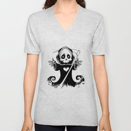 Cute Grim Reaper with Scythe Pointing - Free Hugs Version Unisex V-Neck