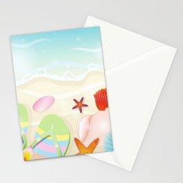 Cartoon Sandy Beach Sandals Sunglasses & Seashells Stationery Cards