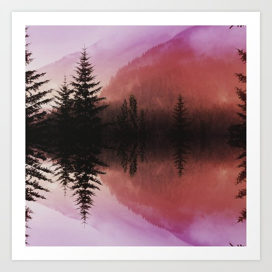 Sunset forest reflections Art Print