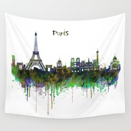 Paris Skyline watercolor Wall Tapestry