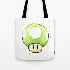 1UP Green Mushroom Painting Mario Gaming Geek Videogame Art Tote Bag