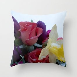 Vibrant bouquet of flowers in the snow Throw Pillow