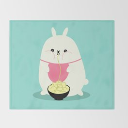 Fat bunny eating noodles Throw Blanket