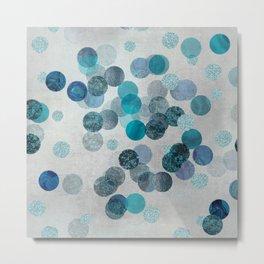 Shiny Glamour Dots Blue Aqua Teal Pattern Glitter  #blueglamour Metal Print