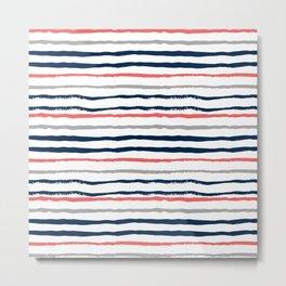 Minimal stripes painted stripe pattern navy modern trendy color palette nursery Metal Print