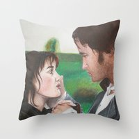 pride and prejudice Throw Pillows featuring Pride & Prejudice by Caroline Ward