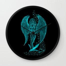 Angel , black and green design Wall Clock
