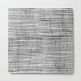 Boho, Striped Mudcloth, Black and White Metal Print