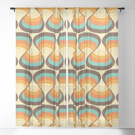 Wavy Turquoise Orange and Brown Retro Lines Sheer Curtain
