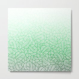 Gradient green and white swirls doodles Metal Print