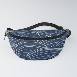 Abstract water waves Japanese white and blue pattern Fanny Pack