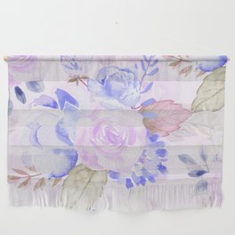Watercolor flowers in Blue and Violet Wall Hanging