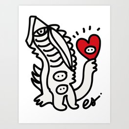 Black and White Graffiti Creature with a red heart in hand Art Print