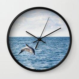 Leaping Wild Dolphin - Retro style illustration Wall Clock