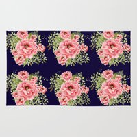 craftberrybush Area & Throw Rugs featuring watercolor bouquet  by craftberrybush
