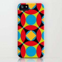 Very colorful circles, squares, intersections, geometrical fantasy. iPhone Case
