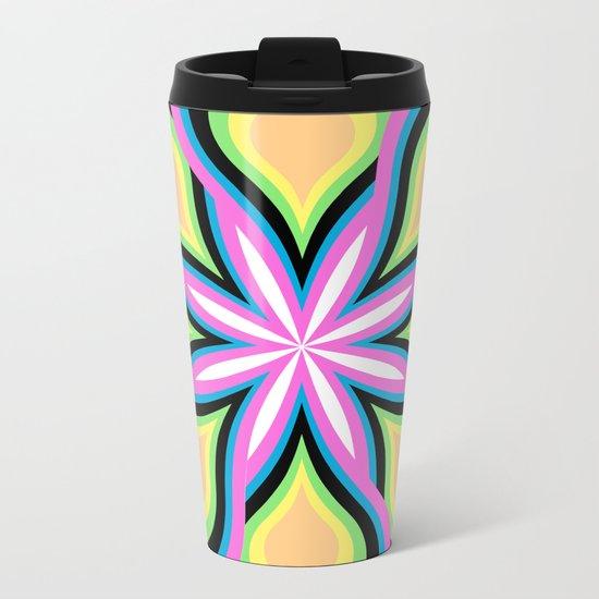 Colorful Feathers Flower Metal Travel Mug