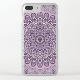Purple floral mandala Clear iPhone Case