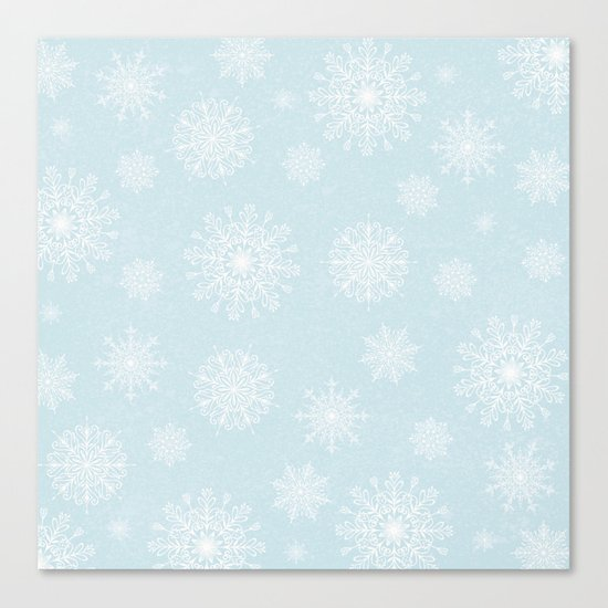 Assorted White Snowflakes On Light Blue Background Canvas Print