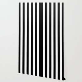 Simply Vertical Stripes in Midnight Black Wallpaper