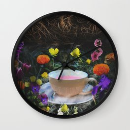 Flowers and Tea in Wonderland Wall Clock
