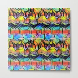 Pastel Aztec Rainbow Metal Print