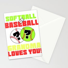 Softball or Baseball Tshirt Design Stationery Cards