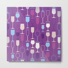 WIne Glasses Metal Print