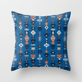 Boho Tribal Blue Throw Pillow