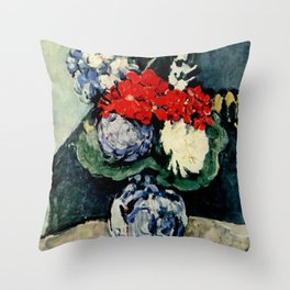"Paul Cezanne ""Delft vase with flowers"" Throw Pillow"