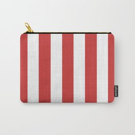 Persian red - solid color - white vertical lines pattern Carry-All Pouch