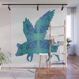 Vintage Blue Flying Pig Wall Mural