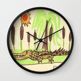 Crocodile Swamp Wall Clock