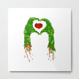 zombie hand making heart Metal Print