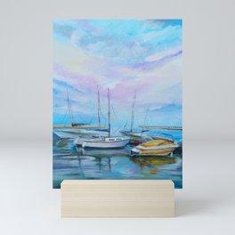 Morning boat pier Mini Art Print