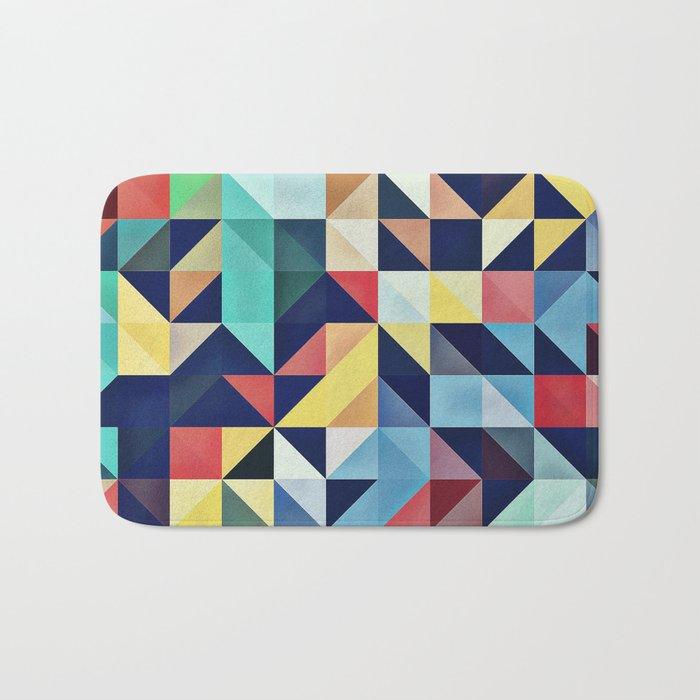 Modern Colorful Retro Geometric Triangle Pattern Bath Mat
