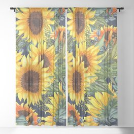 Festive, Sunflower, Yellow and Green on Navy Blue, Floral Prints Sheer Curtain